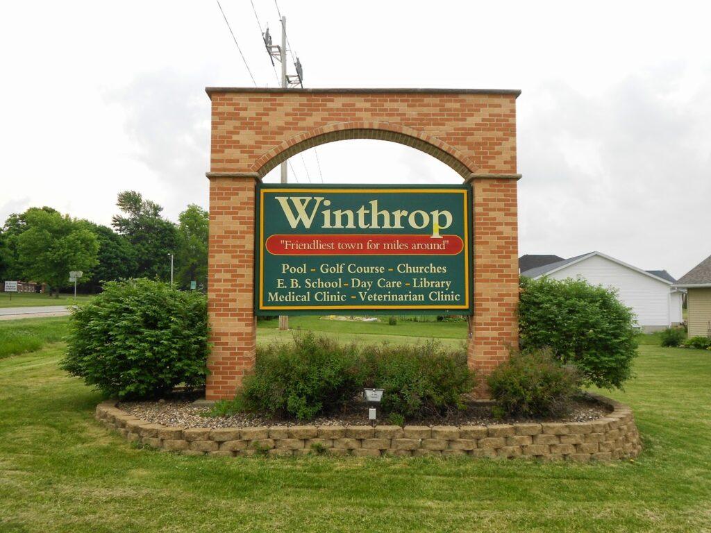 city of winthrop brick sign