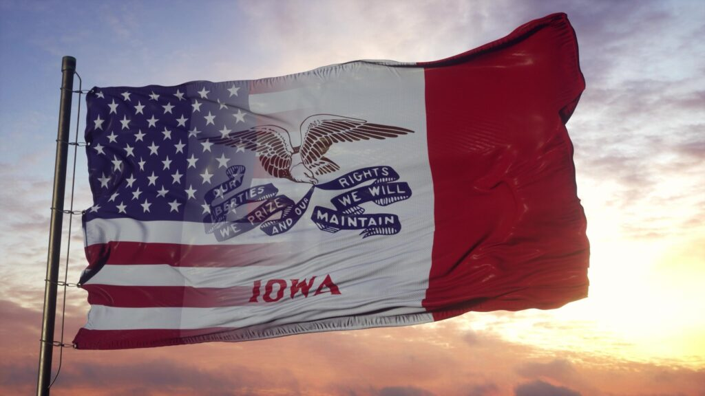 USA and Iowa Mixed Flag waving in wind.