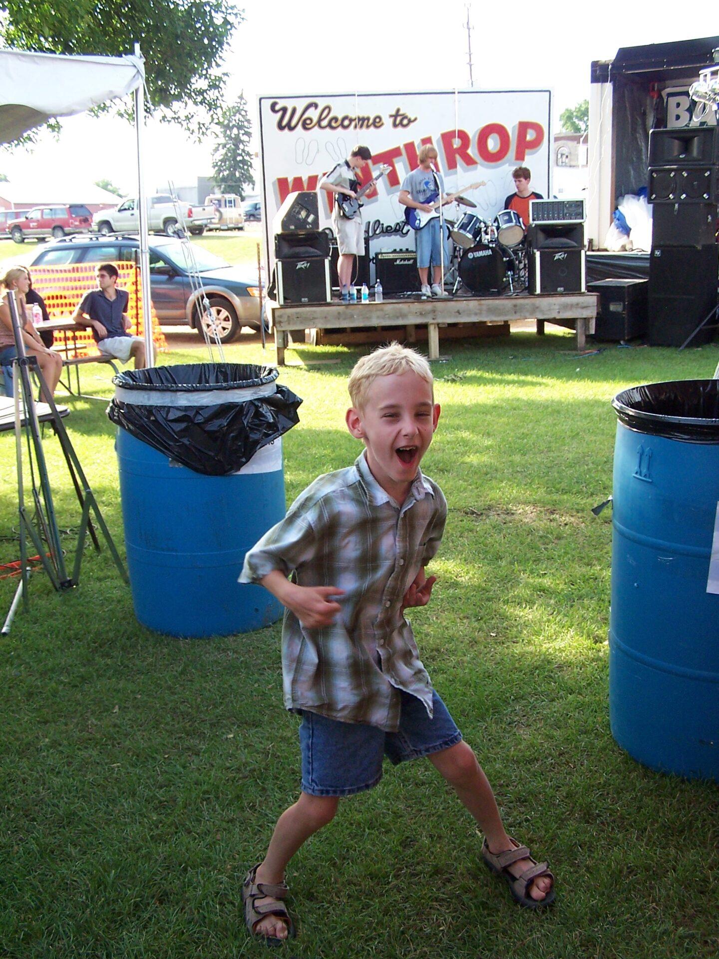 small boy having fun at winthrop days