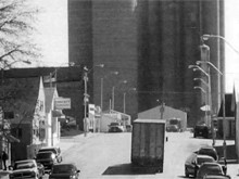 old black and white image of main st