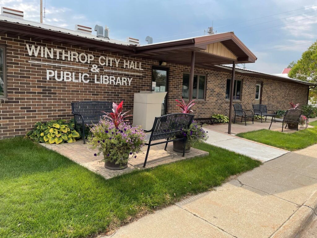 front of city hall and the public library